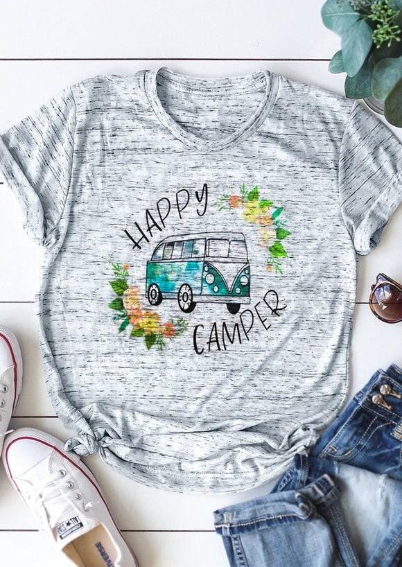 Women T-Shirt Summer Short Sleeve Happy Camper Floral Print