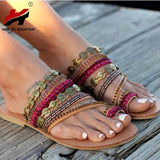 NAN JIU MOUNTAIN Shoes Women's Handmade Bohemian Wind Flat Sandals - Bohemian Moon Boutique