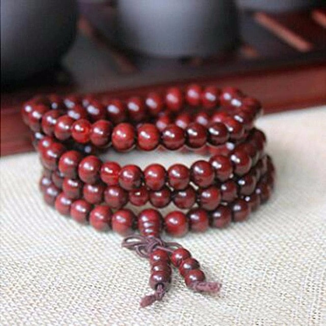 6mm Sandalwood Buddhist Meditation 108 beads Wood Prayer Bead Mala Bracelet - Bohemian Moon Boutique