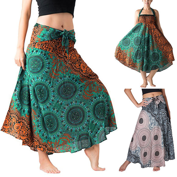 Women Long Hippie Bohemian Gypsy Boho Flowers Elastic Floral Skirt - Bohemian Moon Boutique