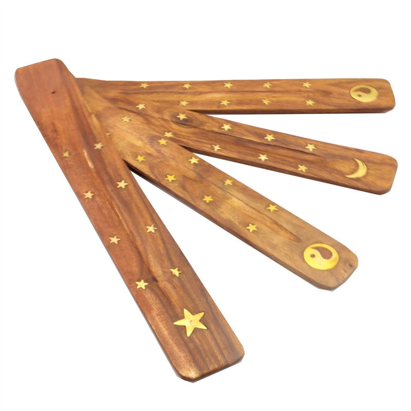 Premium Carved Wooden Traditional Incense Holder with Inlaid Design