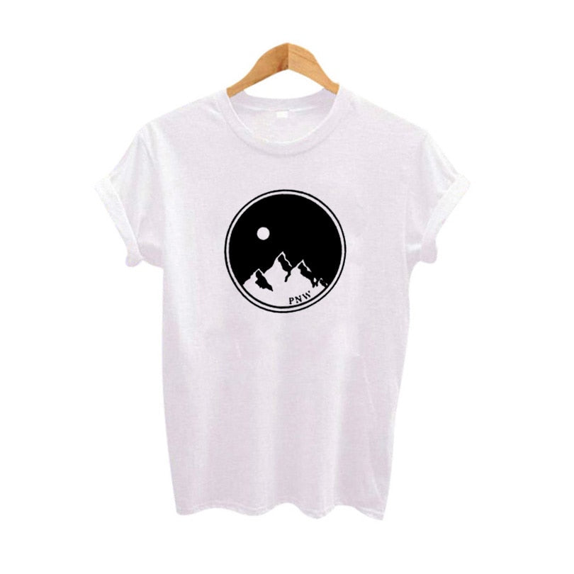 Women's Clothing Mountains & Moons T-shirt Hipster Outdoor Travel Graphic