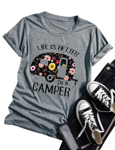 Women Graphic T Shirt Life Is Better In A Camper Letter Print Round Neck Short Sleeve Casual Top