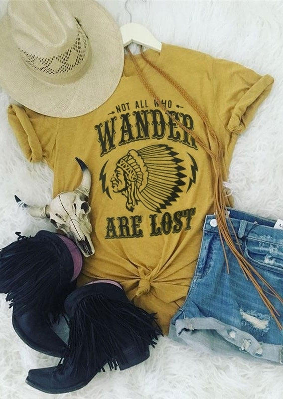 T-Shirt Women Short Sleeve Letter Print Not All Who Wander Are Lost - Bohemian Moon Boutique