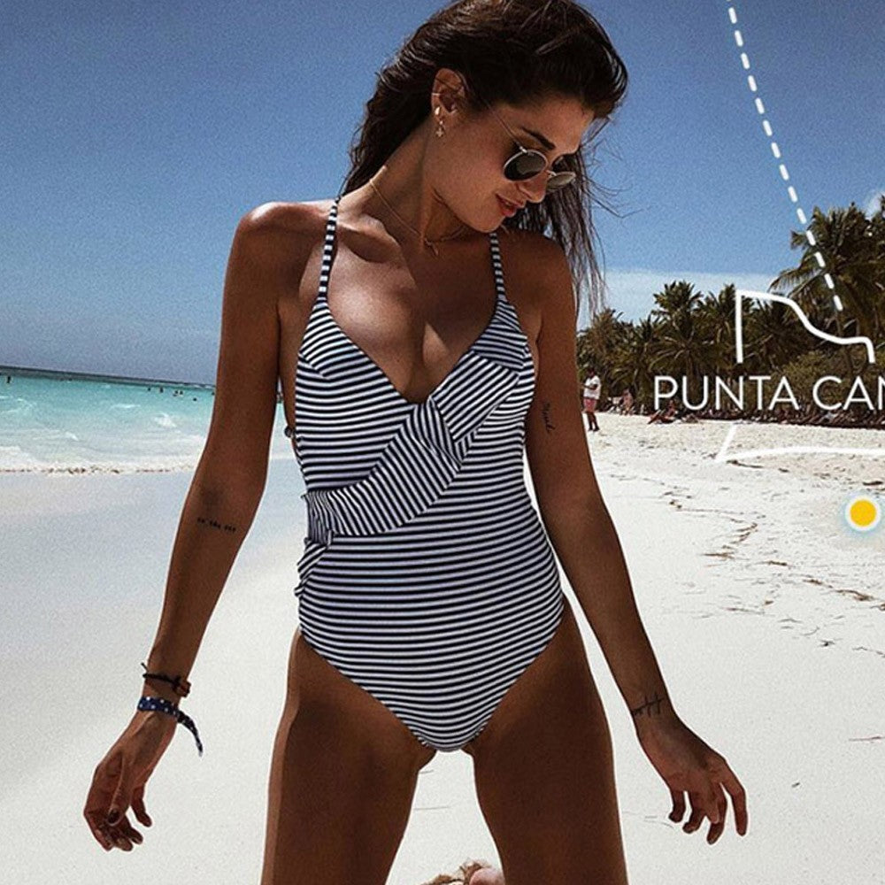One Piece Women's Ruffle Bikini Striped Swimsuit Swimwear Bathing Beachwear - Bohemian Moon Boutique