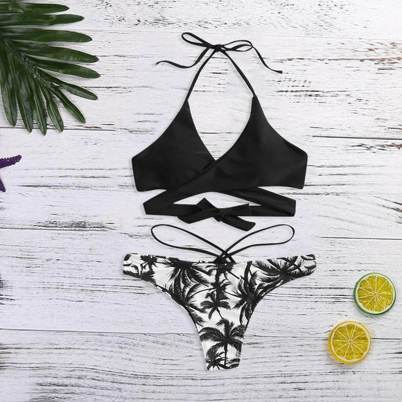 Women's Print Bandage Bikini Set Brazilian Swimwear Beachwear Swimsuit