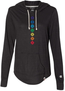 "Champion Brand ""7 Diamond Chakras"" Women's Triblend Hooded Pullover, Black - Bohemian Moon Boutique"