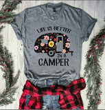 LIFE IS BETTER CAMPER T-shirt O-neck Floral Letter Print Gray Tops Female - Bohemian Moon Boutique
