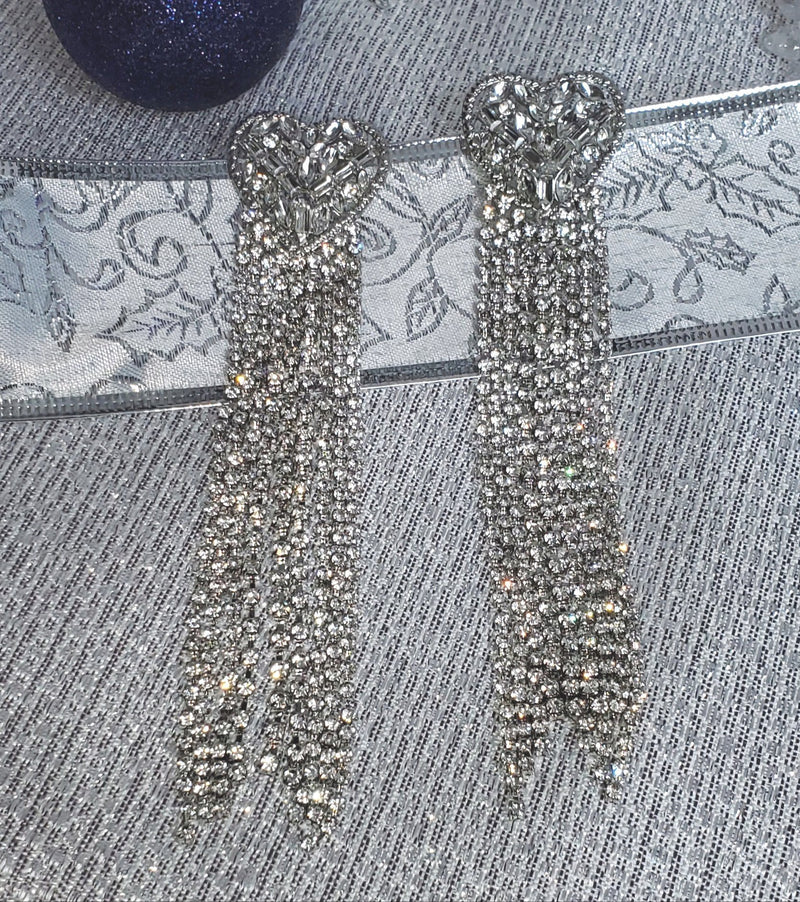 Long Heart Tassel Earrings - Bonafide Glam