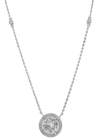 18KT WHITE GOLD DIAMOND PENDANT WITH DIAMOND BY THE YARD CHAIN