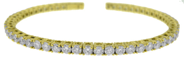 18KT YELLOW GOLD FLEXIBLE DIAMOND BANGLE