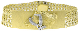 "14KT YELLOW GOLD DIAMOND HORSE ID TYPE 8"" BRACELET"