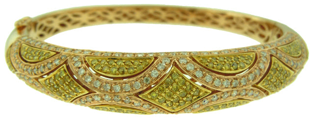 18KT ROSE GOLD WHITE AND FANCY YELLOW DIAMOND BANGLE BRACELET