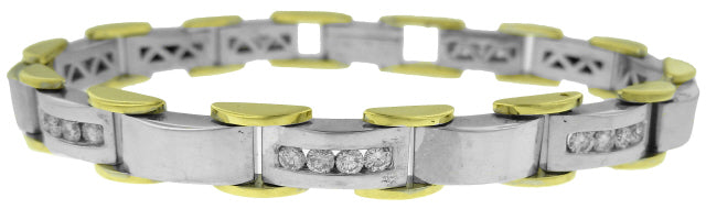18KT WHITE AND YELLOW GOLD MAN'S DIAMOND BRACELET 8.25
