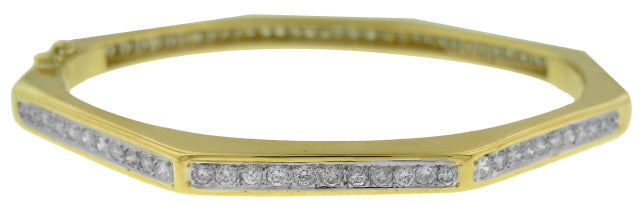 18KT YELLOW GOLD OCTAGONAL DIAMOND BANGLE BRACELET