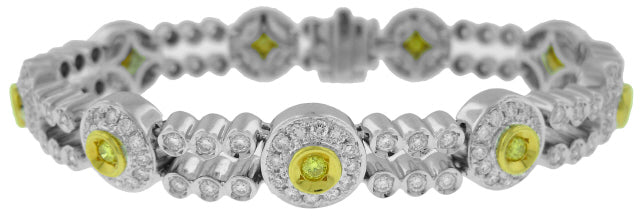18KT TWO-TONE YELLOW AND WHITE DIAMOND BRACELET