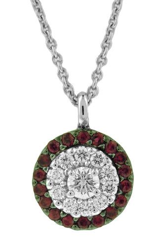 18KT WHITE GOLD RUBY AND DIAMOND PENDANT WITH CHAIN.
