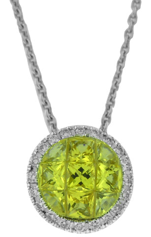 18KT WHITE GOLD INVISIBLE SET YELLOW SAPPHIRE AND DIAMOND PENDANT WITH CHAIN.