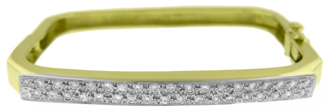 14KT YELLOW GOLD SQUARE BANGLE BRACELET WITH DIAMONDS