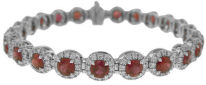 18KT WHITE GOLD RUBY AND DIAMOND BRACELET.