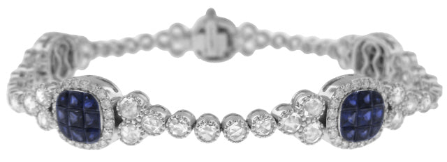 18KT WHITE GOLD SAPPHIRE AND DIAMOND BRACELET.