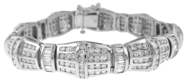 14KT WHITE GOLD CHANNEL SET ROUND AND BAGUETTE DIAMOND BRACELET