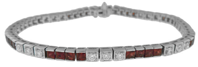 18KT WHITE GOLD SQUARE RUBY AND DIAMOND BRACELET
