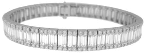 18KT WHITE GOLD BAGUETTE AND ROUND DIAMOND BRACELET