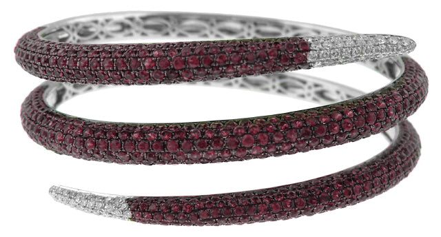 18KT WHITE GOLD RUBY AND DIAMOND SNAKE STYLE BANGLE BRACELET