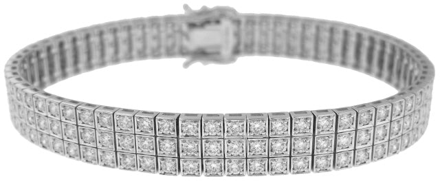 18KT WHITE GOLD THREE ROW DIAMOND BRACELET