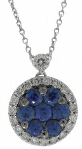 18KT WHITE GOLD SAPPHIRE AND DIAMOND PENDANT WITH CHAIN.
