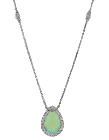 18KT WHITE GOLD OPAL AND DIAMOND PENDANT