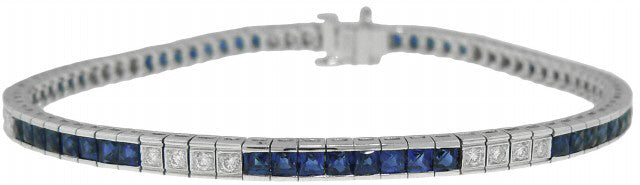 18KT WHITE GOLD DIAMOND AND SAPPHIRE STRAIGHT LINE BRACELET