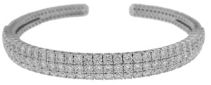 18KT WHITE GOLD 3-ROW DIAMOND BANGLE