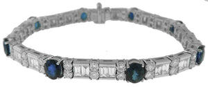 18KT WHITE GOLD OVAL SAPPHIRE, BAGUETTE AND ROUND DIAMOND BRACELET