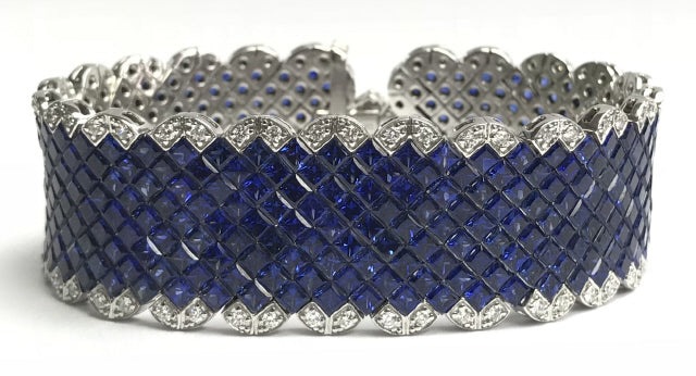 18KT WHITE GOLD DIAMOND AND INVISIBLE SET SAPPHIRE BRACELET