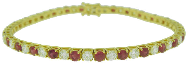 18KT YELLOW GOLD 4-PRONG ALTERNATING DIAMOND AND RUBY TENNIS BRACELET