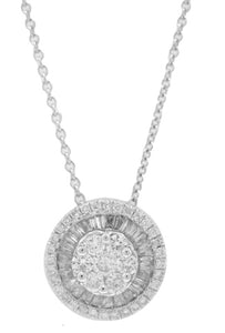 14KT WHITE GOLD ROUND AND BAGUETTE DIAMOND PENDANT WITH CHAIN