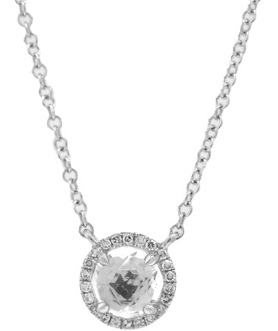 14KT WHITE GOLD WHITE TOPAZ AND DIAMOND HALO PENDANT WITH CHAIN.
