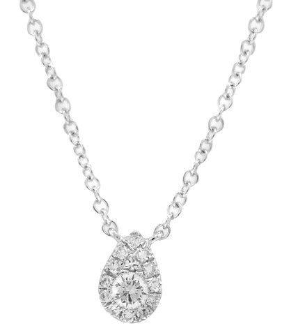 14KT WHITE GOLD DIAMOND PENDANT WITH CHAIN.