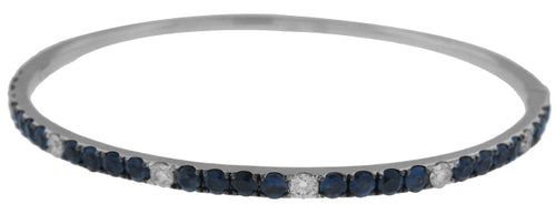 18KT WHITE GOLD SAPPHIRE AND DIAMOND BANGLE