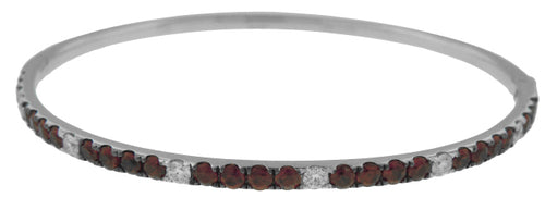 18KT WHITE GOLD RUBY AND DIAMOND BANGLE