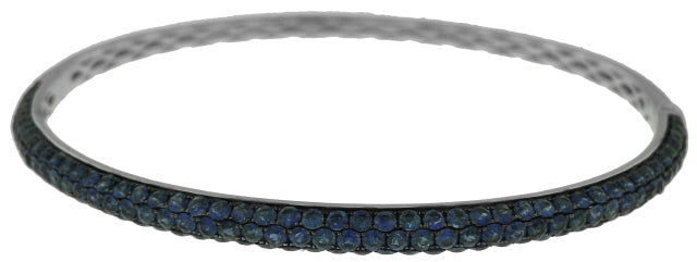 18KT WHITE GOLD 3-ROW PAVE SET SAPPHIRE HALF WAY BANGLE