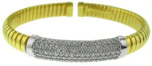 18KT TWO-TONE FLEXIBLE DIAMOND CUFF BRACELET WITH PAVE DIAMOND CENTER PIECE