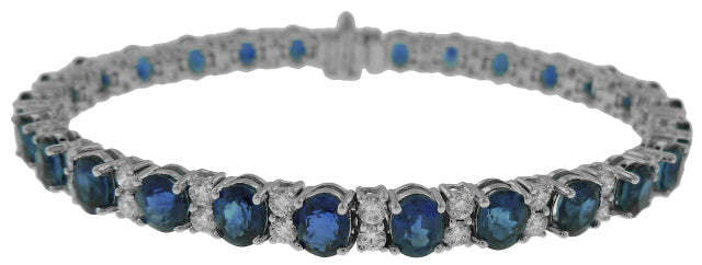 18KT WHITE GOLD OVAL SAPPHIRE AND DIAMOND BRACELET