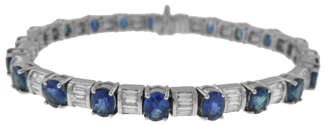 18KT WHITE GOLD OVAL SAPPHIRE AND BAGUETTE DIAMOND BRACELET
