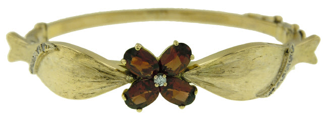 14KT YELLOW GOLD MADEIRA CITRINE AND DIAMOND BANGLE