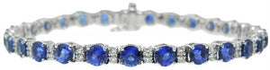 18KT WHITE GOLD SAPPHIRE AND DIAMOND BRACELET
