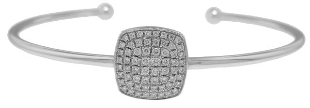 18KT WHITE GOLD CUFF BANGLE BRACELET WITH SQUARE DIAMOND CENTERPIECE