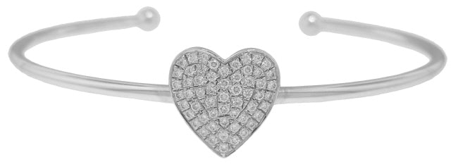 18KT WHITE GOLD CUFF BANGLE BRACELET WITH HEART DIAMOND CENTERPIECE
